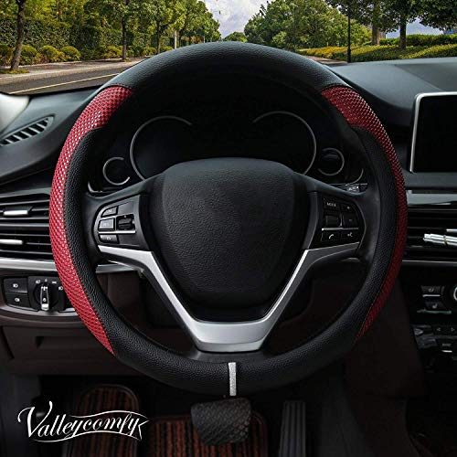 (Valleycomfy Steering Wheel Cover with Microfiber Leather for Car Truck SUV 15 inch (Style-Red))