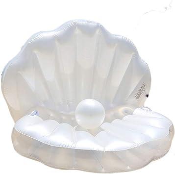 FBEST Flotador de Piscina Inflable Gigante de Concha de Perla, flotadores de Playa Divertidos, Juguetes para Nadar, Piscina en la Isla, balsera de Verano Lounge para Adultos y niños: Amazon.es: Deportes y