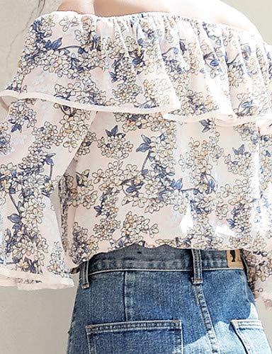 YFLTZ Blouse Floral Blouse Blouse Femme Blue YFLTZ YFLTZ Blue Femme Floral AOpqOwa