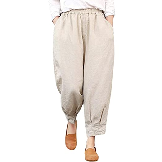 cbda52834f13 Amazon.com  vermers Womens Pants Women Thin Ankle-Length Harem Trousers  Capris Loose Elastic High Waist Pants  Clothing