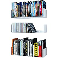 WALLNITURE U Shape Bookshelf Wall Mountable Metal CD DVD Storage Rack White Set of 3