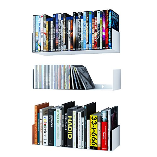 Wallniture Bali U Shape Bookshelves - Wall Mountable Metal CD DVD Storage Rack White Set of 3 ()