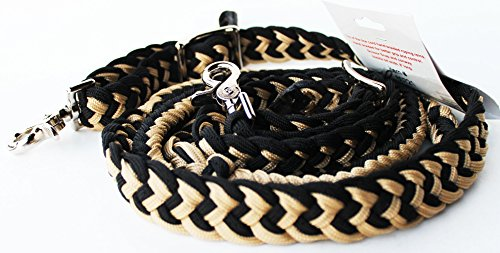 ProRider Roping Knotted Horse Tack Western Barrel Reins Nylon Braided Tan 60721