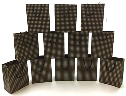 Style Design (TM) Dozen Gift Bags - 12 Beautiful Kraft Gift Bags for Presents, Parties or Any Occasion With Gingham Design (Medium, Brown)