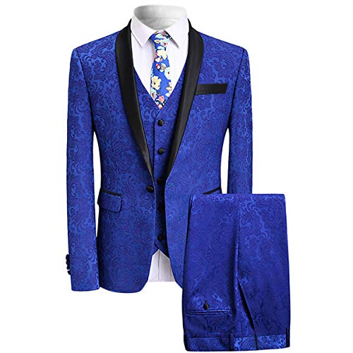 YFFUSHI Mens Elegant Jacquard 3 Piece Suit Slim Fit Royal Blue Tuxedo,Blue,XX-Large