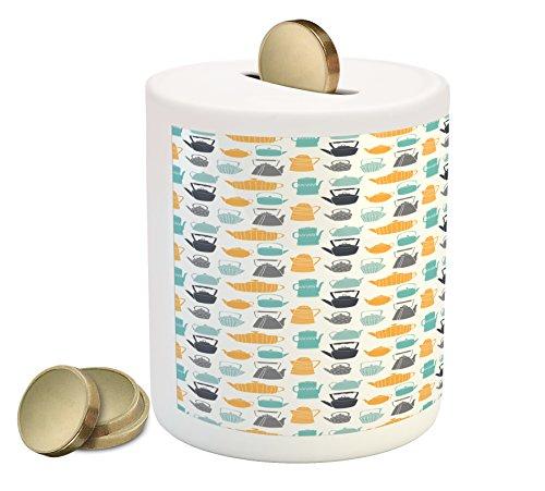 Lunarable Tea Party Piggy Bank, Different Style Teapots Silhouette Pattern Colorful Doodle Tea Time Composition, Printed Ceramic Coin Bank Money Box for Cash Saving, Multicolor by Lunarable