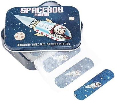 En caso de tiritas de papel en caja de hojalata DotComGiftShop chico del espacio: Amazon.es: Salud y cuidado personal