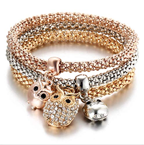 Crystal Diamond Pendant Popcorn Bracelet Crown Stretch Corn Chain Tricolor Bracelet,Owl