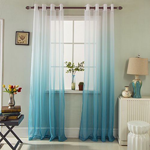 GYROHOME Gradient Color Tulle Voile Sheer Curtains Home Decorations for Bedroom, Living Room Energy Saving Privacy Protection, Sold in Pair, W52xL84