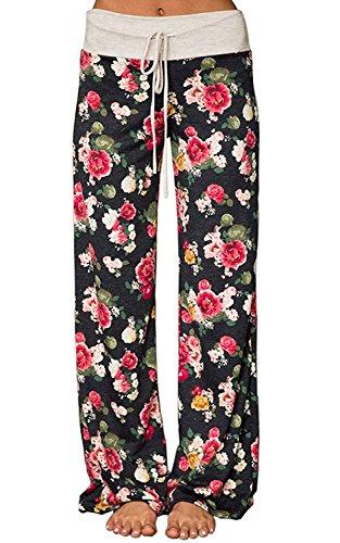 (UPSTONE Women's Floral Print Comfy Stretch Drawstring Palazzo Wide Leg Lounge Pants (L, 0627-black))