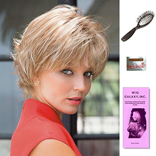 Nori by Noriko, Wig Galaxy Hair Loss Booklet, Wig Cap, & Loop Brush (Bundle - 4 Items), Color Chosen: Copper Glaze R by Noriko & Wig Galaxy