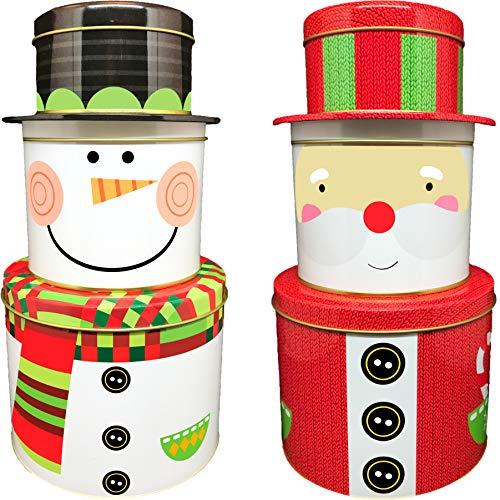 ALEF Christmas/Holiday Decorative Stacking Tins (Santa & Snowman) (Santa Christmas Tin)