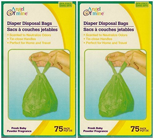 Lightly Scented Baby Wipes (Baby Powder Scented Diaper Disposable Bags 150 ct , These lightly baby-powder-scented bags have tie-close handles for sanitary and convenient disposal of dirty)