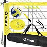 Patiassy Professional Portable Volleyball Set - Includes Volleyball Net System with Height Adjustable Aluminum Poles, Winch System for Anti Sag Net, Volleyball and Carrying Bag