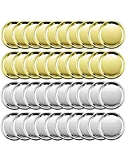 TXIN 72pcs Canning Rings Jar Bands Replacement Rings Metal Bands with Lids Cover, Leakproof Can Canning Screw Bands Glass Jar Sealing Ring for Mason Jar, Ball Jar, Storage Jar Silver & Gold