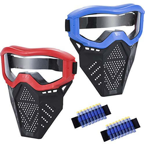 MeimoS 2 Pack Tactical Face Shield Mask Protective Goggles - Eye Protection for Kids Red and Blue - Compatible with Nerf Rival, Apollo, Zeus, Khaos, Atlas, Artemis, and N-Strike Elite Blasters