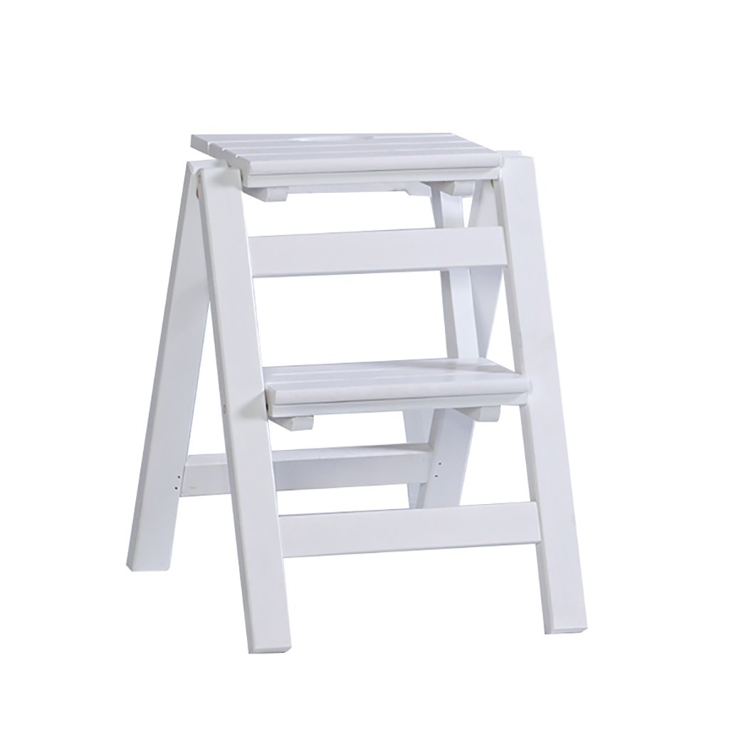 White 3 steps CIGONG Solid Wood Folding Step Stool, Wooden Flower Stand - Household Wooden Ladder Multi-Function Indoor Climbing Ladder Step Stool (color   Wood color, Size   2 Steps)
