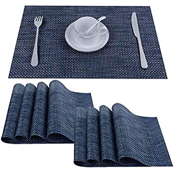 Top Finel Placemats,Plastic Table Mats Set of 8,Heat Resistant Washable Place Mats for Dinner Table,Navy