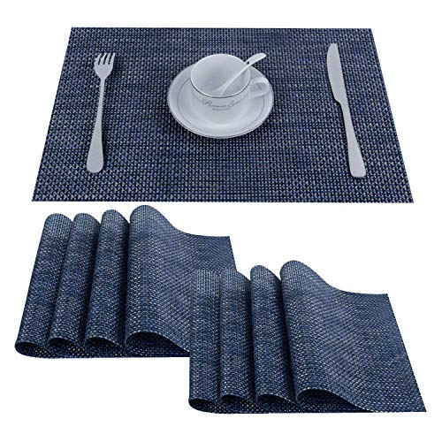 (Top Finel Placemats,Plastic Table Mats Set of 8,Heat Resistant Washable Place Mats for Dinner Table,Navy )
