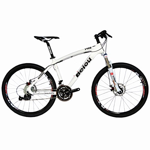 BEIOU Toray T700 Carbon Fiber Mountain Bike Complete Bicycle MTB 27 Speed 26-Inch Wheel SHIMANO 370 CB004H17X (White, 17-Inch)