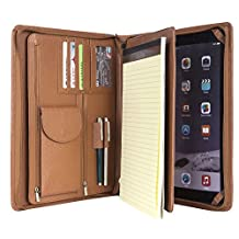 Leather Padfolio- Business Portfolio/Cowhide Leather Meeting Portfolio with Secure Zippered Closure, Ipad /iPad Pro/iPad Mini and Micro Surface Pro 3/4 Expandable Document Organizer & Writing Pad