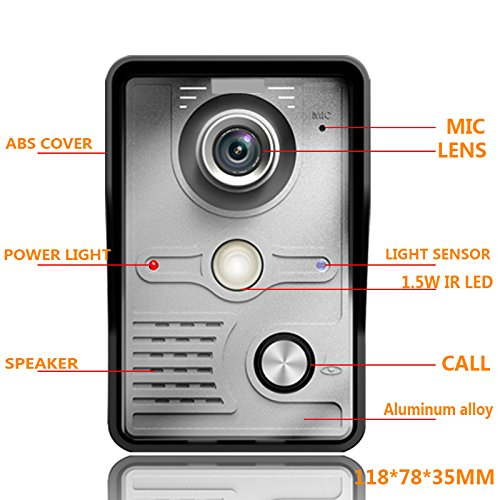 Doorbell, UEB Wired 7'' LCD Video Door Phone Doorbell Kit Home Intercom System by UEB (Image #3)