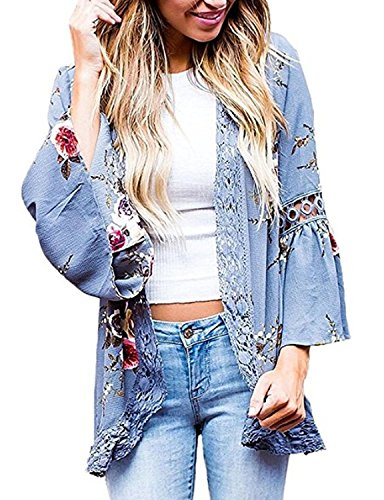 Basic Faith Women's S-3XL Floral Print Kimono Tops Cover Up Cardigans Blue S