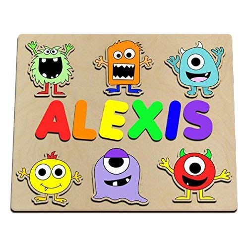 Cute Little Monsters Personalized Wooden Name Puzzle Help Your Kid Learn To Spell His/Her Name While Playing With Silly Monsters]()