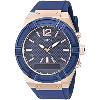 GUESS Men's CONNECT Smartwatch with Amazon Alexa and Silicone Strap Buckle - iOS and Android Compatible -  Blue