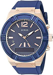 GUESS Men's Stainless Steel Connect Smart Watch - Amazon Alexa, iOS and Android Compatible iOS and Android Compatible, Color: Blue (Model: C0001G1)