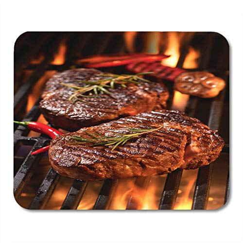 - Mouse Pad Red Meat Beef Steaks Grill Flames Barbecue BBQ Tenderloin Mousepad for Notebooks,Desktop Computers Mouse Mats, Office Supplies