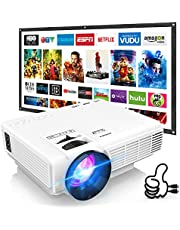 $79 » DRJ Upgrade 7500Lumens Mini Projector Outdoor Movie Projector with 100Inch Projector Screen, Full HD 1080P Projector Supported, Compatible with TV Stick, Video Games, HDMI, USB, TF, VGA, AUX, AV, PS4