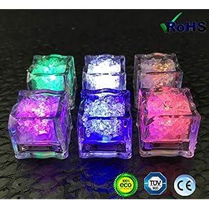 Ghiaccio luminoso, 12 sensori di liquido senza fiamma - LED a forma di cubo di ghiaccio a sette colori, matrimonio… 4 spesavip