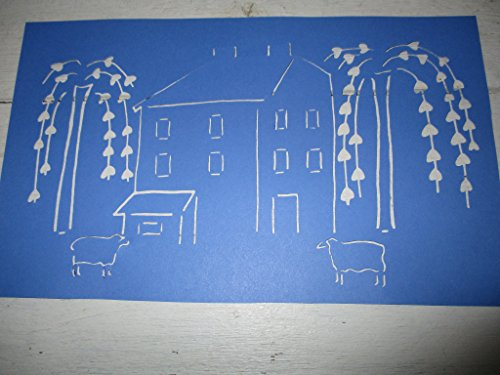 (Vintage look PRIMITIVE SALTBOX house sheep trees Colonial style cardstock STENCIL old timey farmhouse primitive for painting on paper, wood, fabric, etc)