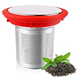 Infused Tea Basket | Food Grade Nontoxic Stainless Steel Loose-Leaf Tea Infuser Steeper Filter Strainer with Fine Mesh | Outstanding for Coffee and Tea with Silicone Lid | Vibrant Red