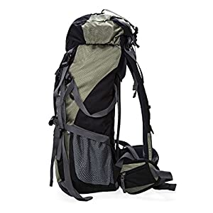 SUNVP 50L Lightweight Hiking Backpack Outdoor Sport Nylon Water-resistant Internal Frame Backpack with Rain Cover for Climbing Camping Travel Mountaineering (Black)