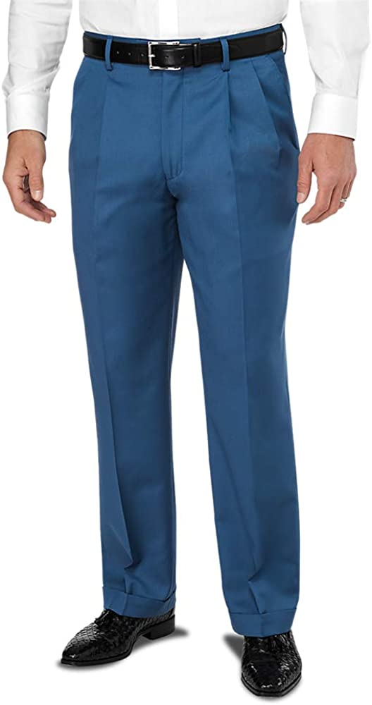 1950s Men's Pants, Trousers, Shorts | Rockabilly Jeans, Greaser Styles Paul Fredrick Mens Wool Gabardine Pleated Pant $77.50 AT vintagedancer.com