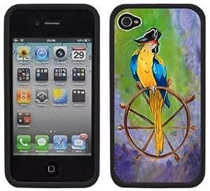 Pirate Parrot Handmade iPhone 4 4S Black Hard Plastic Case