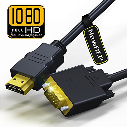 Input Adapter Cable - HDMI to VGA Adapter Cable, NewBEP 6ft/1.8m Gold-plated 1080P HDMI Male to VGA Male Active Video Converter Cord Support Notebook PC DVD Player Laptop TV Projector Monitor Etc