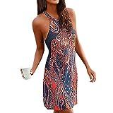 Womens Dresses Women's Halter Neck Boho Print Sleeveless Casual Mini Beachwear Dress Sundress Navy