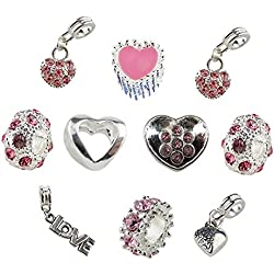 Set of 10 Pink Valentine's Day Heart Charms and Beads