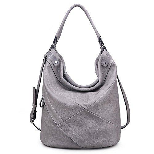 Moda Genuine Colors Grey Assorted Leather Women's Hobo Simone Luxe ParqSP