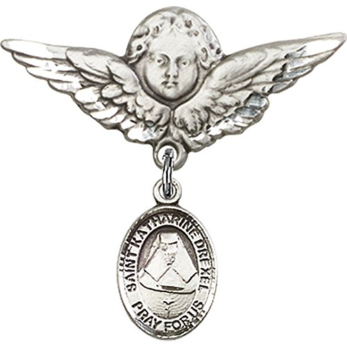 Sterling Silver Baby Badge with St. Katherine Drexel Charm and Angel w/Wings Badge Pin 1 1/8 X 1 1/8 inches by Unknown