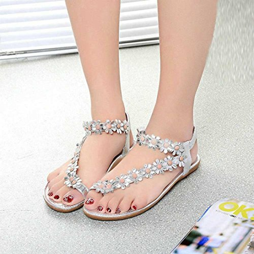 WYXlink Womens Sandals, Womens Fashion Sweet Summer Bohemia Sweet Beaded Sandals Clip Toe Sandals Beach Shoes Herringbone Sandals Shoes Silver