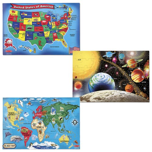 Melissa & Doug Deluxe Wooden USA Map, Solar System and World Map Puzzle Bundle