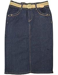 "Women Curvy Stretch Below The Knee Length Belted Denim Skirt 26"""
