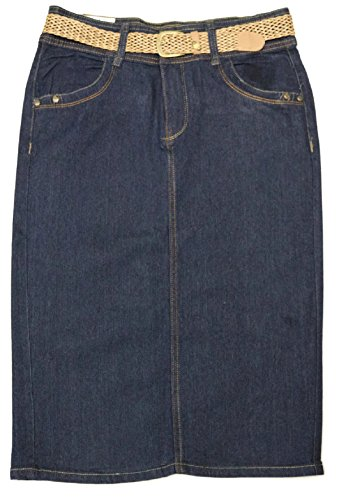 No Fuze Women's Missy Size Stretch Below The Knee Length Belted Denim Skirt 26