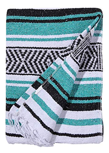 El Paso Designs Mexican Yoga Blanket Colorful 51in x 74in Studio Mexican Falsa Blanket Ideal for Yoga, Camping, Picnic, Beach Blanket, Bedding, Home Decor Soft Woven (Vallarta)