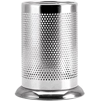 SZUAH Kitchen Utensil Holder, Stainless Steel Utensil Crock, Flatware Caddy  With Drain Holes For