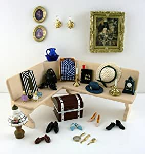 Juego de accesorios de dormitorio en miniatura - Accesorios para casa de munecas ...